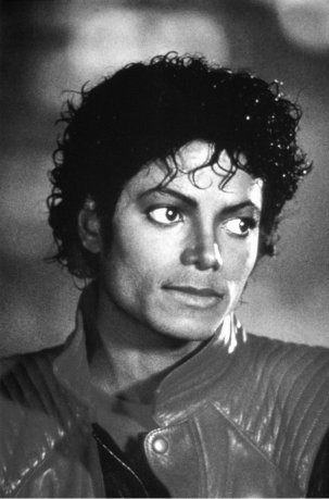 michael jackson thriller videoshoot on set black and white photo